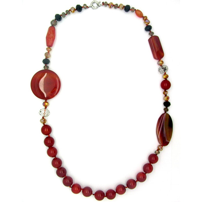 Pearlz Ocean Red Agate and Glass 30-inch Fashion Necklace