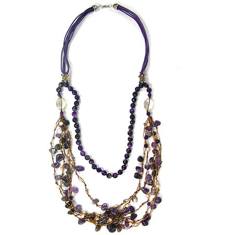 Pearlz Ocean Blue Agate, Amethyst and Orange Agate Fashion Bib Necklace