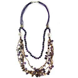 Pearlz Ocean Blue Agate, Amethyst and Orange Agate Fashion Bib Necklace - Thumbnail 0