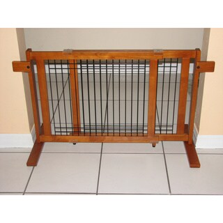 Crown Pet Freestanding Wood/ Wire 40 - 74.5-inch Large Span Pet Gate with Security Arms