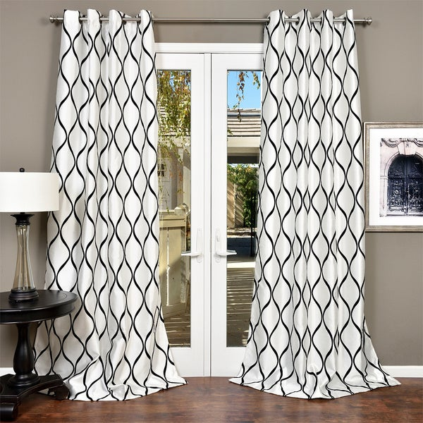 Lambrequin Casa Flocked Faux Silk Grommet 84-inch Window Panel - 54 x 84