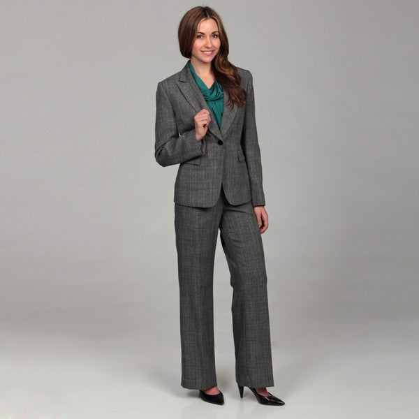 Tahari Women's Grey/ Turquoise Plaid 2-piece Pant Suit - Free ...