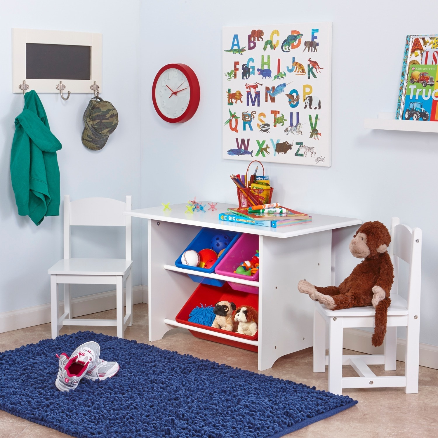 Picture of: Riverridge Activity Table For Kids With Two Chairs And Storage Bins Set Overstock 6204609