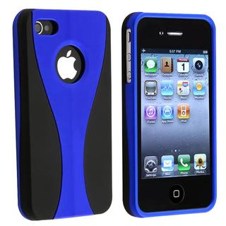 Dark Blue/ Black Cup Shape Snap-on Plastic Case for Apple iPhone 4