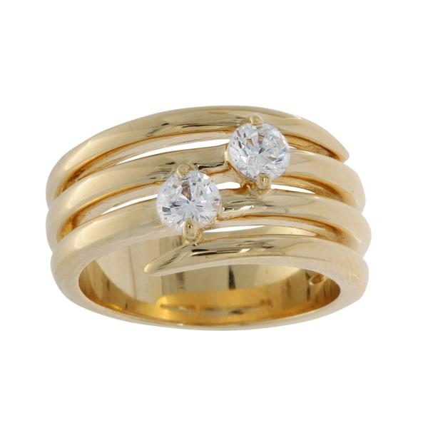 NEXTE Jewelry Yellow Gold Overlay Spiraling Cubic Zirconia Ring