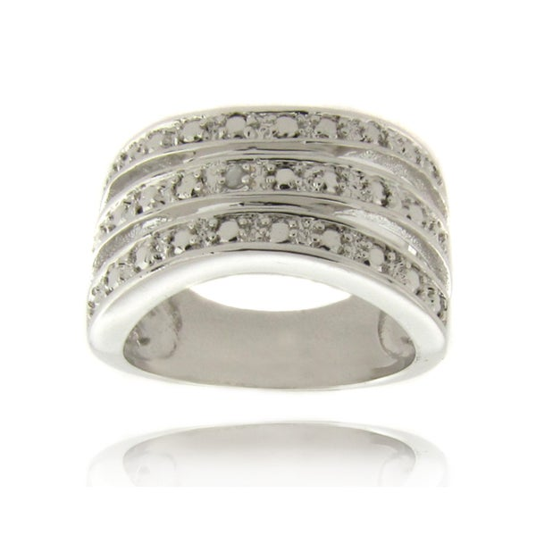 Finesque Silverplated Diamond Accent 3-band Ring