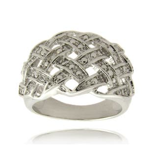 Finesque Silverplated Diamond Accent Weave Design Ring|https://ak1.ostkcdn.com/images/products/6204789/6204789/Finesque-Silver-Overlay-Diamond-Accent-Weave-Design-Ring-P13852619.jpg?impolicy=medium
