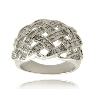 Finesque Silverplated Diamond Accent Weave Design Ring (2 options available)