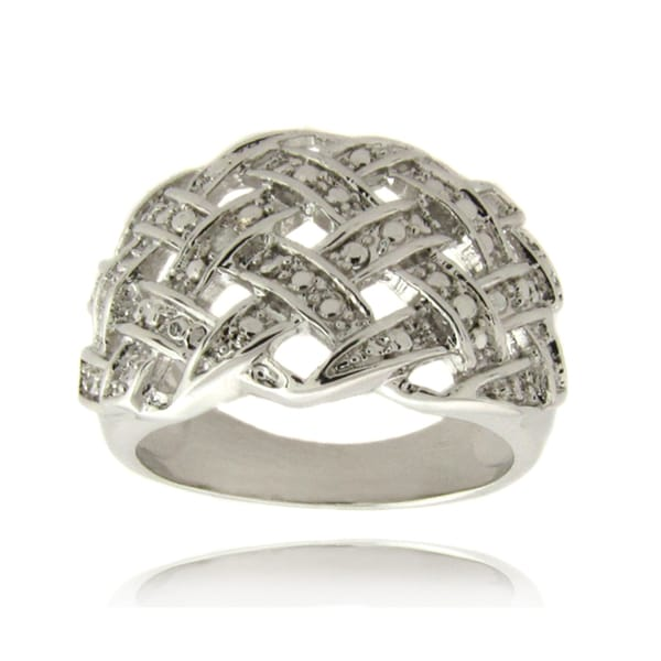 Finesque Silverplated Diamond Accent Weave Design Ring