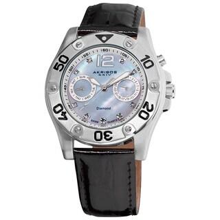 Akribos XXIV Women's Black-Strap Diamond Multifunction Watch