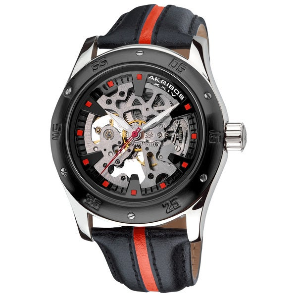 Akribos XXIV Men's Skeleton Automatic Red Strap Watch
