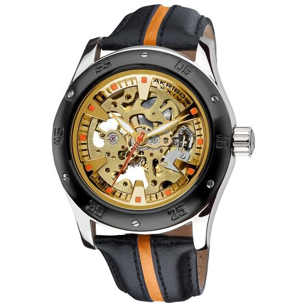 Akribos XXIV Men's Skeleton Water-Resistant Automatic Strap Watch