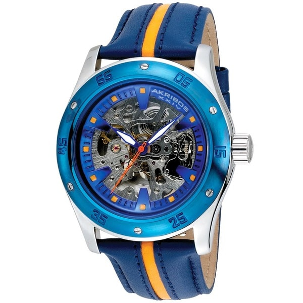 Akribos XXIV Men's Skeleton Automatic Genuine Leather Strap Watch