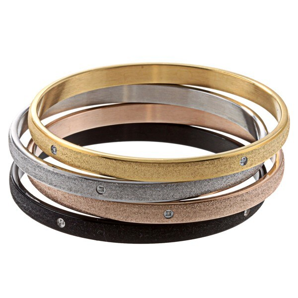 Stainless Steel Diamond Accent Bangle Bracelet By Ever One