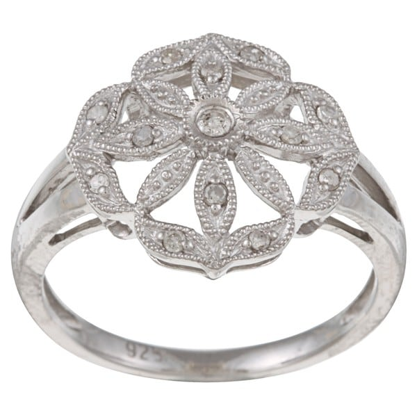 Sterling Silver 1/8ct TDW Vintage Style Diamond Ring (G-H, I1-I2)