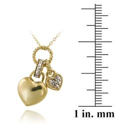 DB Designs Two-tone Sterling Silver Diamond Accent Heart Charm Necklace