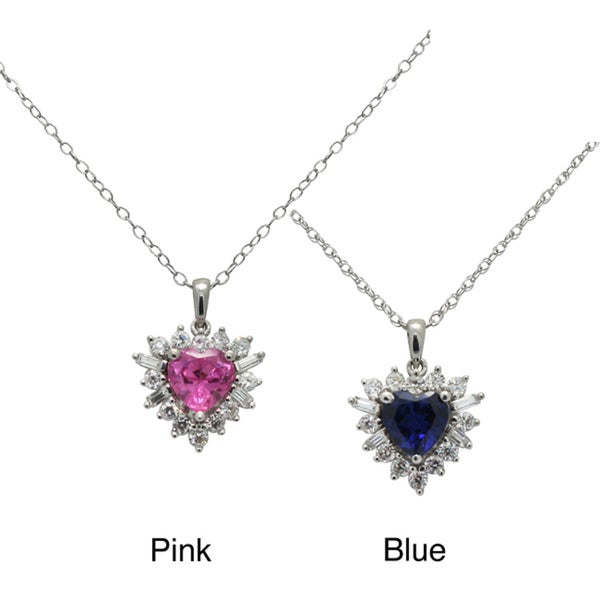 Gioelli Sterling Silver Created Sapphire and Cubic Zirconia Necklace