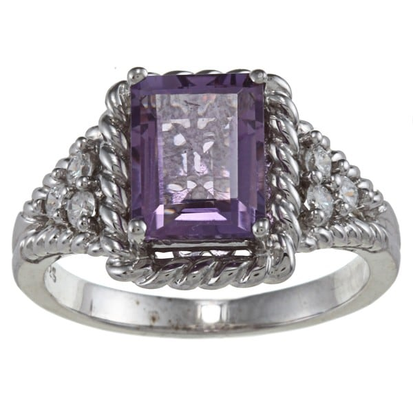 Gioelli Sterling Silver Amethyst and Cubic Zirconia Ring