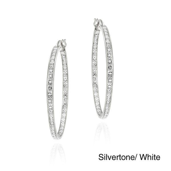 DB Designs Rhodiumplated Diamond Accent Hoop Earrings