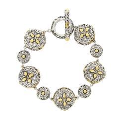 Mondevio 18-karat White-gold Overlay Filigree Round Toggle Charm Bracelet