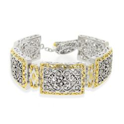 Mondevio White-and-yellow Gold-overlay Rectangular Filigree Toggle Bracelet