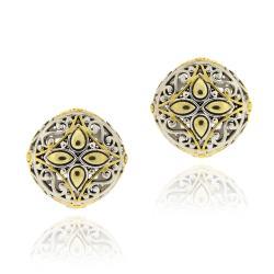 Mondevio Gold Overlay Round Filigree Earrings