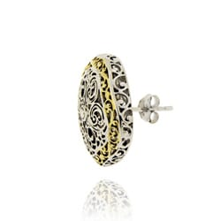 Mondevio Women's 18k Gold-overlay Square Filigree Earrings with Butterfly Clasp - Thumbnail 1