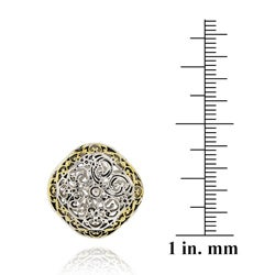 Mondevio Women's 18k Gold-overlay Square Filigree Earrings with Butterfly Clasp - Thumbnail 2