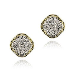 Mondevio Women's 18k Gold-overlay Square Filigree Earrings with Butterfly Clasp
