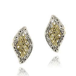 Mondevio Gold Overlay Marquise Wave Filigree Earrings