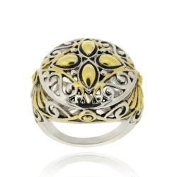 Mondevio High-polish 18-karat Yellow Gold-overlay Round Filigree Brass Ring