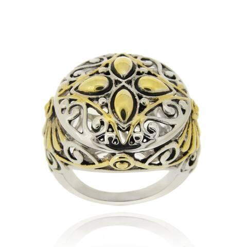 Mondevio 18k Yellow Gold-overlay Round Filigree Brass Ring
