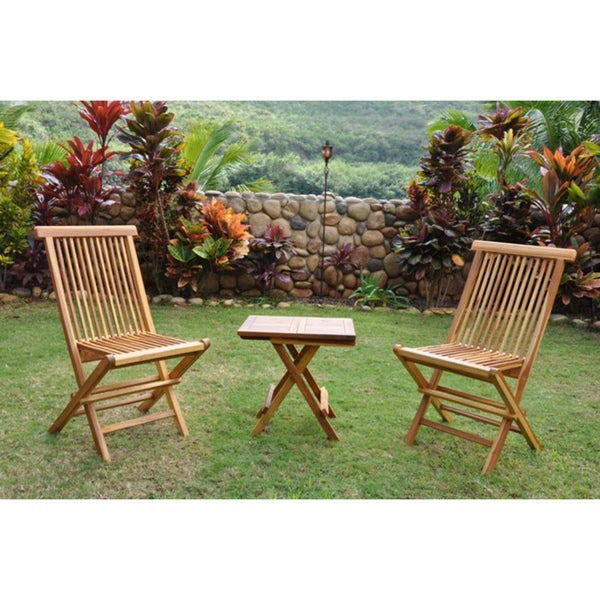 Teak cocktail table and two chairs set free shipping today 13852896 - Treasure island patio furniture ...