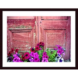 John K. Nakata 'Old Door and Flowers' Wood Framed Art Print