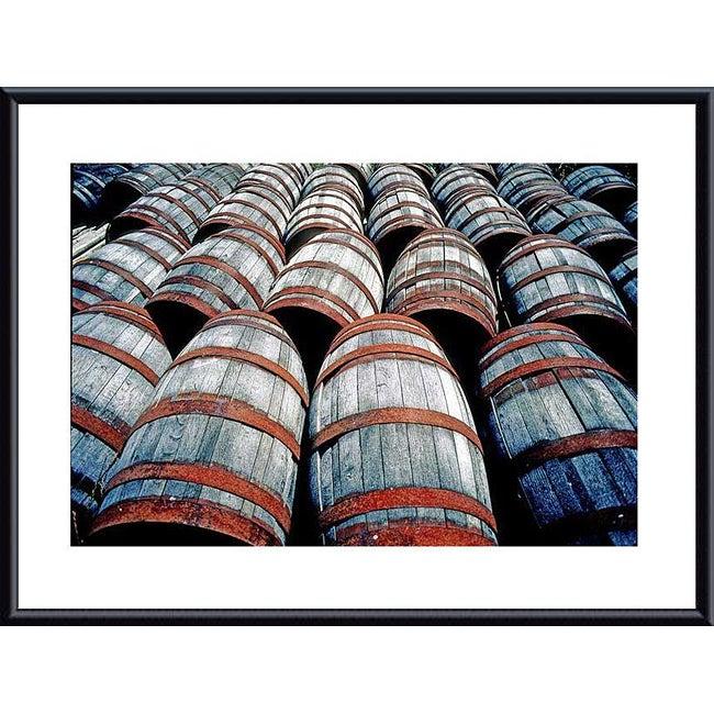 John K. Nakata 'Old Wine Barrels' Metal Framed Art Print