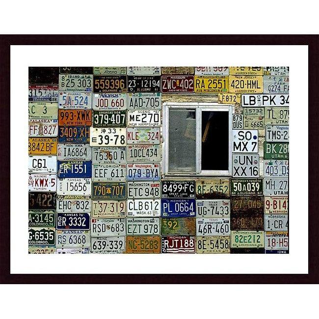 John K. Nakata 'License Plate Wall' Wood Framed Art Print