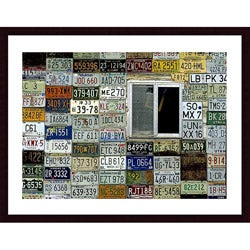 John K. Nakata 'License Plate Wall' Wood Framed Art Print