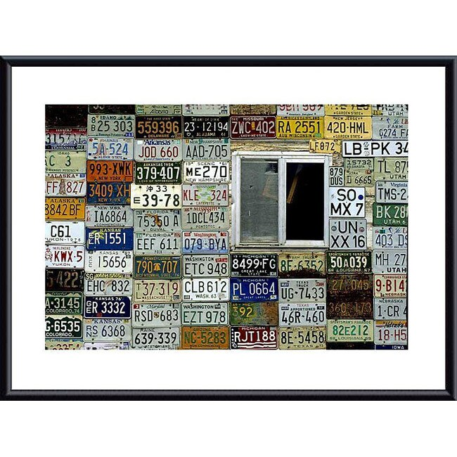 John K. Nakata 'License Plate Wall' Metal Framed Art Print