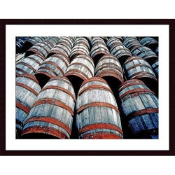 John K. Nakata 'Old Wine Barrels' Wood Framed Art Print