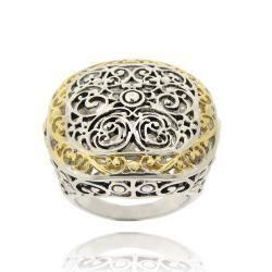 Mondevio Women's Two-toned Square-cut 18-karat Gold-overlay Filigree Ring|https://ak1.ostkcdn.com/images/products/6205702/77/510/Mondevio-Womens-Two-toned-Square-cut-18-karat-Gold-overlay-Filigree-Ring-P13853222.jpg?impolicy=medium