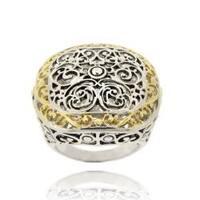 Mondevio Women's Two-toned Square-cut 18-karat Gold-overlay Filigree Ring