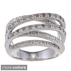 Finesque 14k Gold Overlay or Silverplated 1/4ct TDW Diamond Multi-band Ring (Option: Silver Overlay)