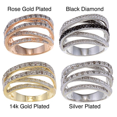Finesque 14k Gold Overlay or Silverplated 1/4ct TDW Diamond Multi-band Ring