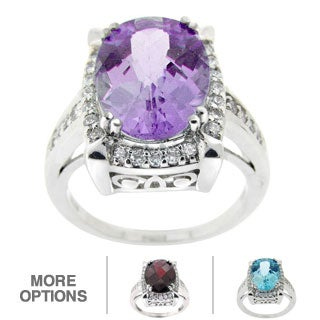 Glitzy Rocks Gemstone and Cubic Zirconia Ring (More options available)