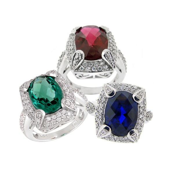 Glitzy Rocks Silvertone Lab-created Gemstone and Cubic Zirconia Ring
