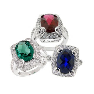 Glitzy Rocks Silvertone Lab-created Gemstone and Cubic Zirconia Ring