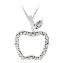 DB Designs Sterling Silver Diamond Accent Apple Necklace