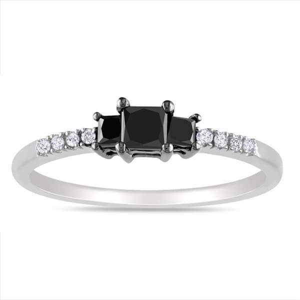 Miadora Sterling Silver 1/2ct TDW Black-and-white Princess-cut Diamond Ring