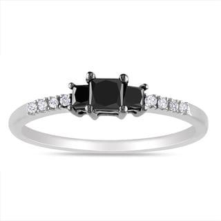 Miadora Sterling Silver 1/2ct TDW Black-and-white Princess-cut Diamond Ring (G-H, I3)