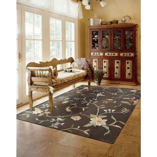 Nourison Hand-tufted Contours Brown Rug (5' x 7'6)